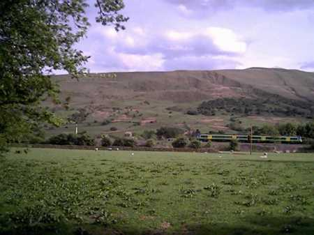 View of ridge that runs between Castleton and Edale from the Entrance to Fieldhead Information center.