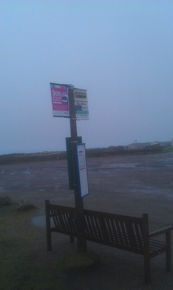 Last bus stop in Britain Lands end Cornwall