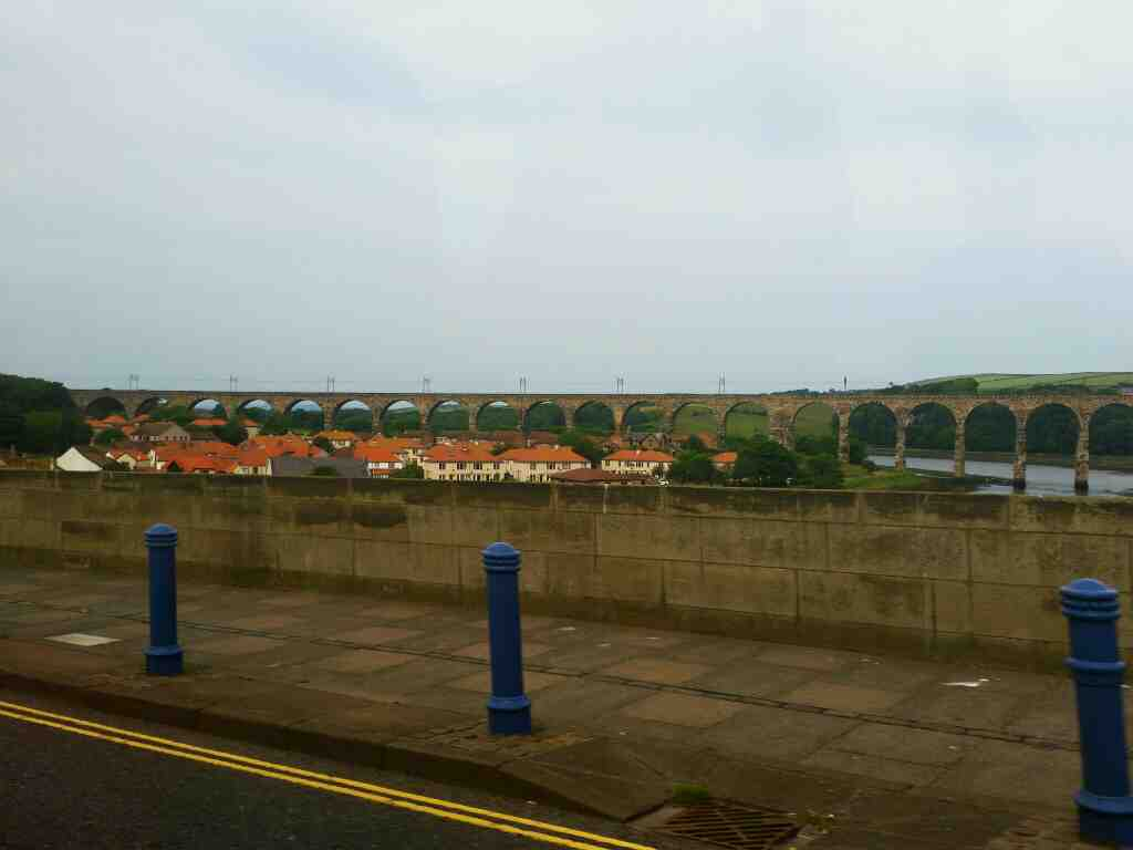 Crossing the Royal Tweed Bridge on a 477 bus. We get a good view of the Royal Border bridge from Here