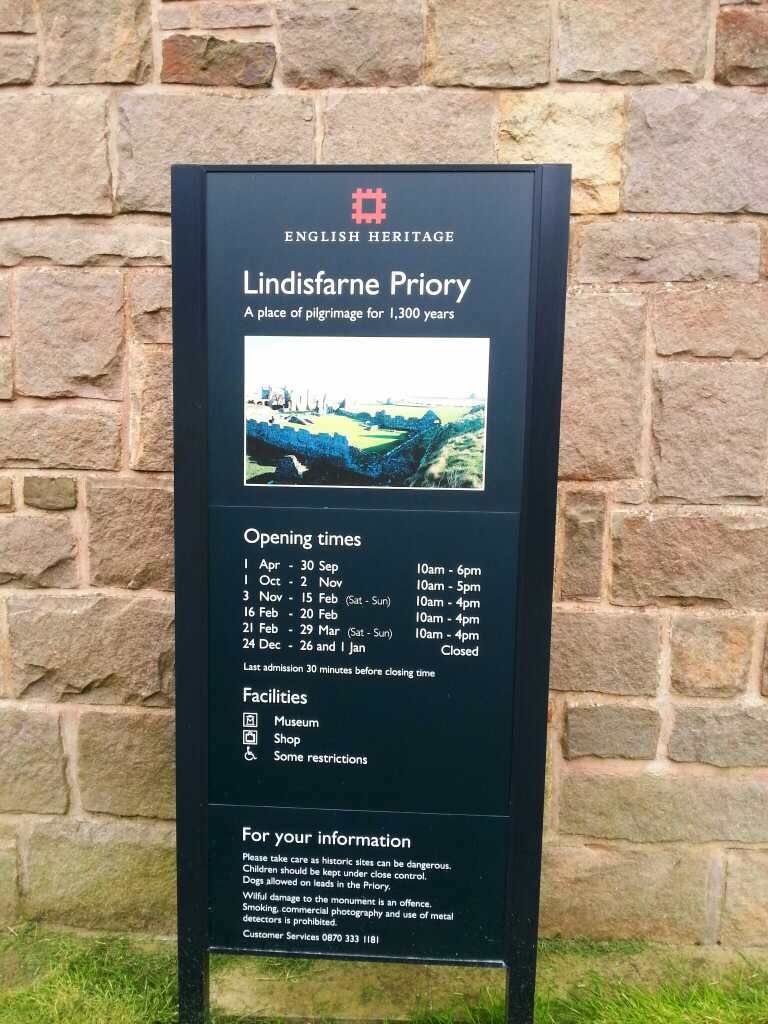 Opening times etc for the Lindisfarne Priory photo taken 2014