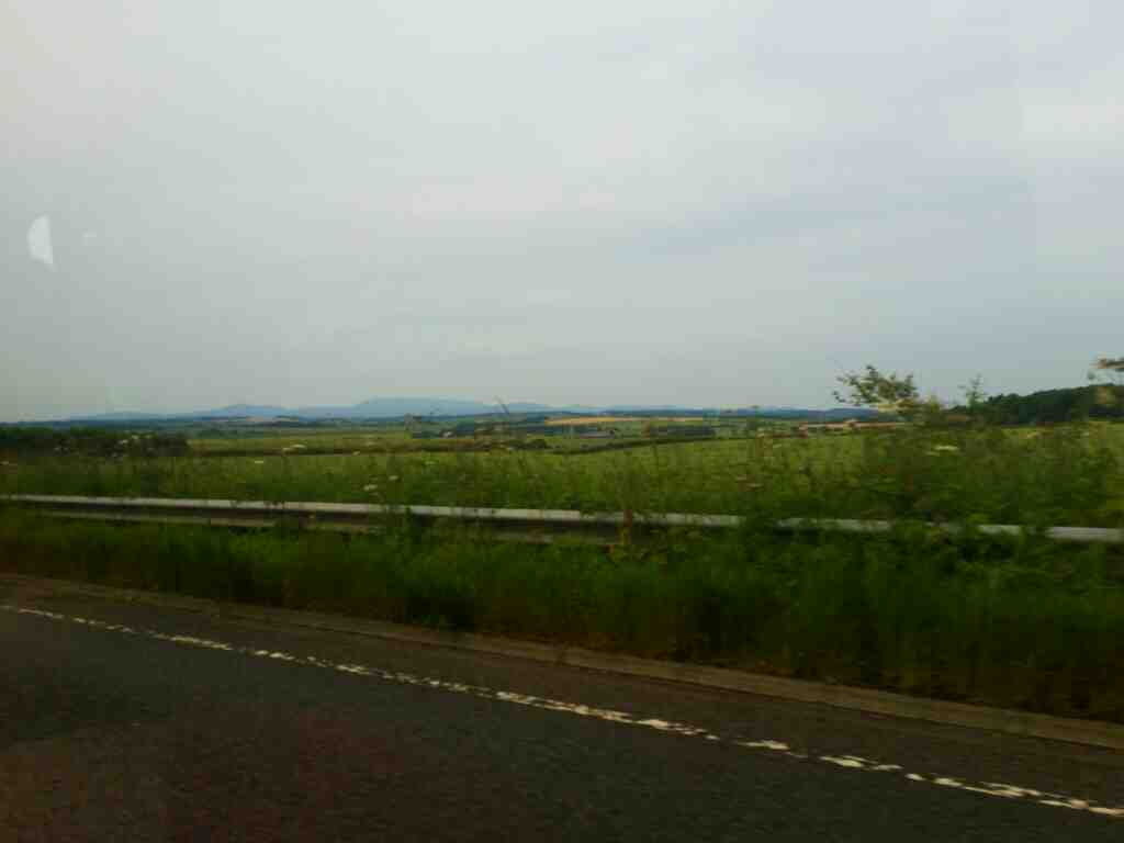 The Cheviot hills as seen from the A1 South of Berwick