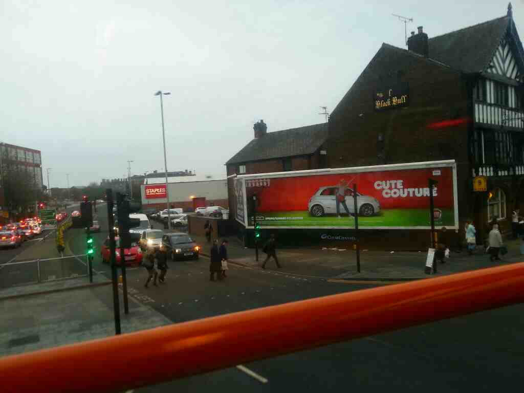 Turning into Friargate fron Ring Way Preston on a 68 bus