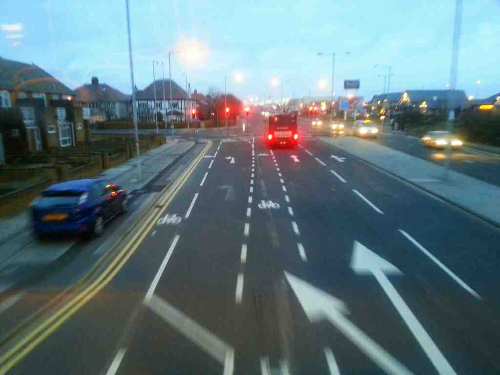 junction of Squires Gate Lane and Lytham Rd Blackpool on a 68 bus