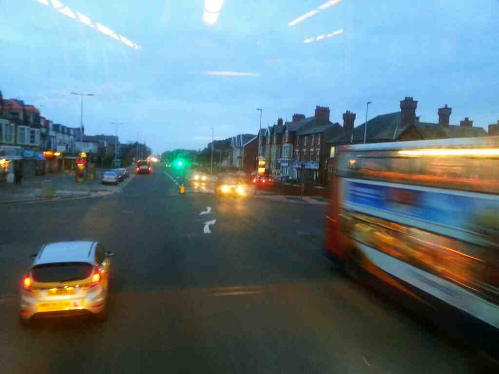 Junction of Lytham Rd Harrowside and Highfield Rd Blackpool on a 68 bus