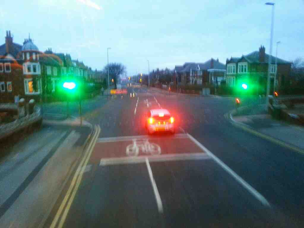 Crossroads of Lytham Road and Watson Road Blackpool on a 68 bus