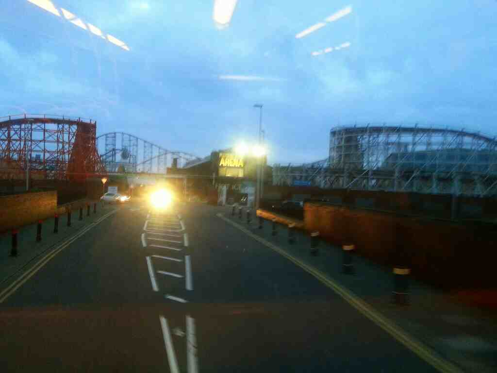 Blackpool Pleasure Beach as seen from a 68 bus on Watson Rd. Good view of Pepsi Max