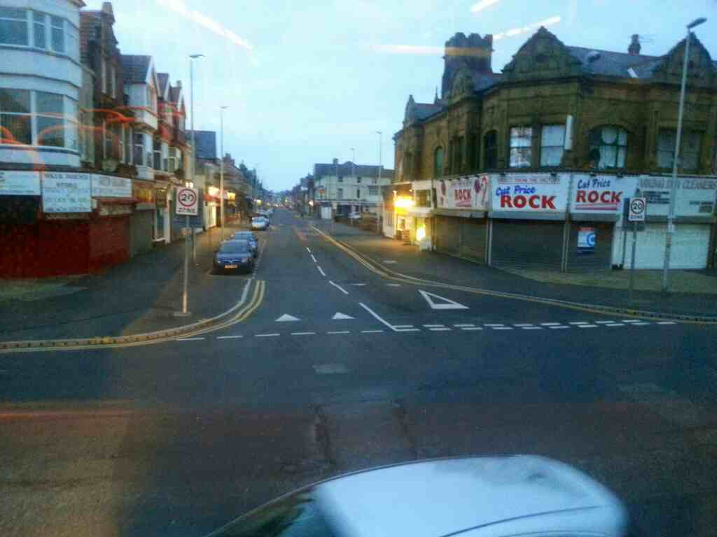 Crossroads of Bond St and Station Rd Blackpool on a 68 bus