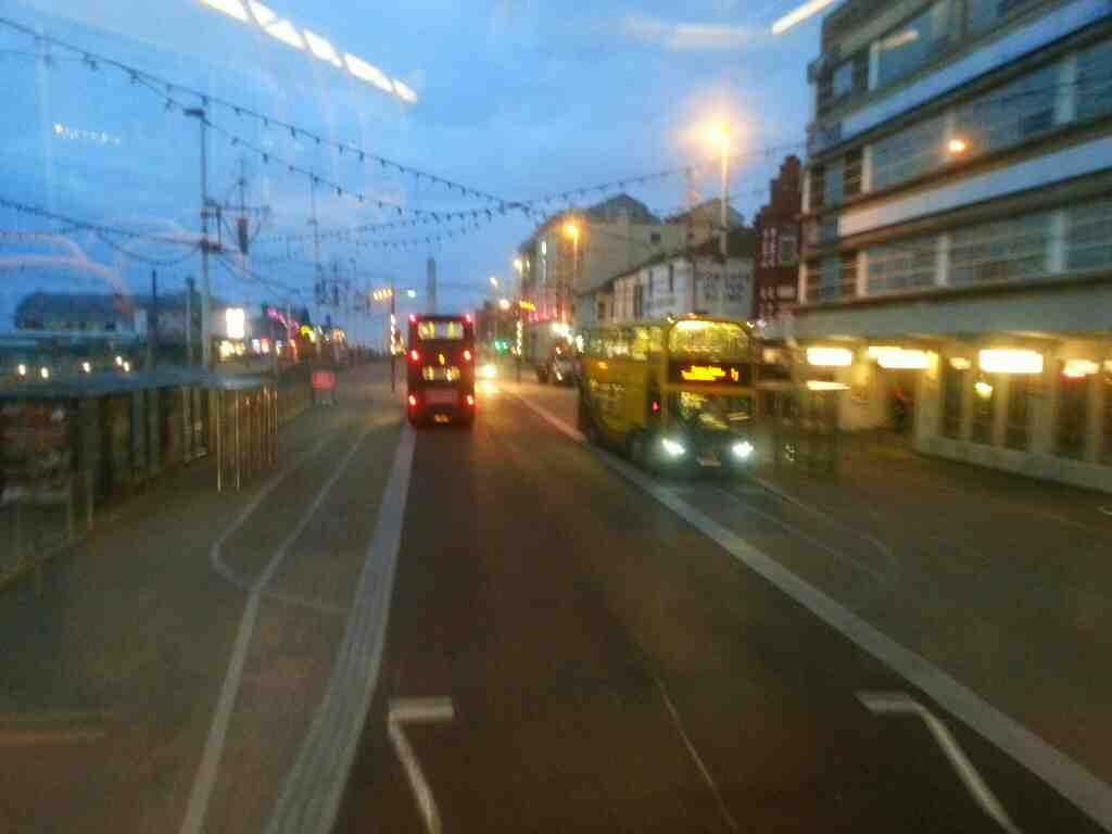 Approaching bus stop at the North pier Blackpool on a 68 bus
