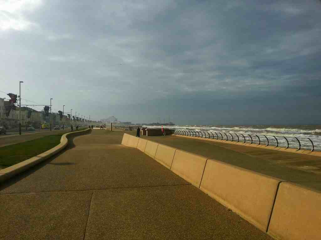 Looking south up Blackpool Sea front towards Blackpool Pleasure Beach Pepsi Max can be seen