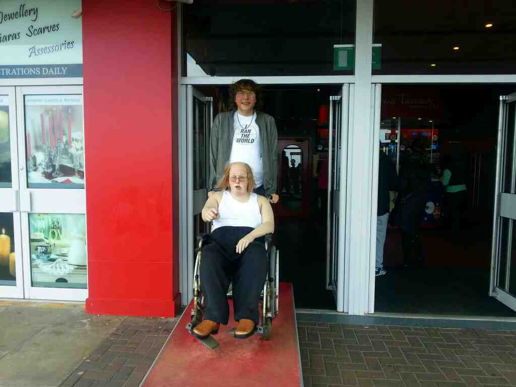 Two characters from Little Britain outside Madame Tussauds Blackpool