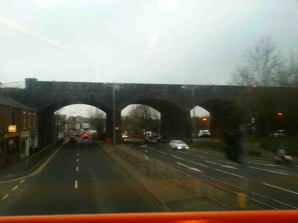 Water Lane Preston crossing under the main Preston to Blackpool railway on a 68 bus
