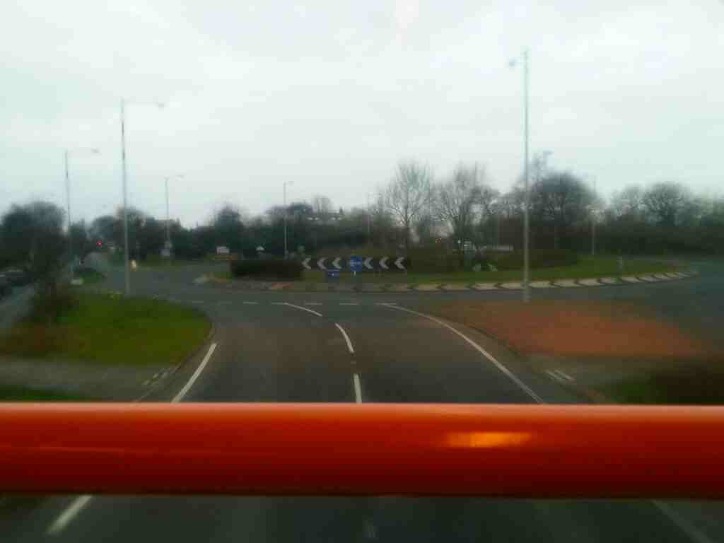 Approaching the roundabout at the eastern end of the Freckleton bypass on a 68 bus