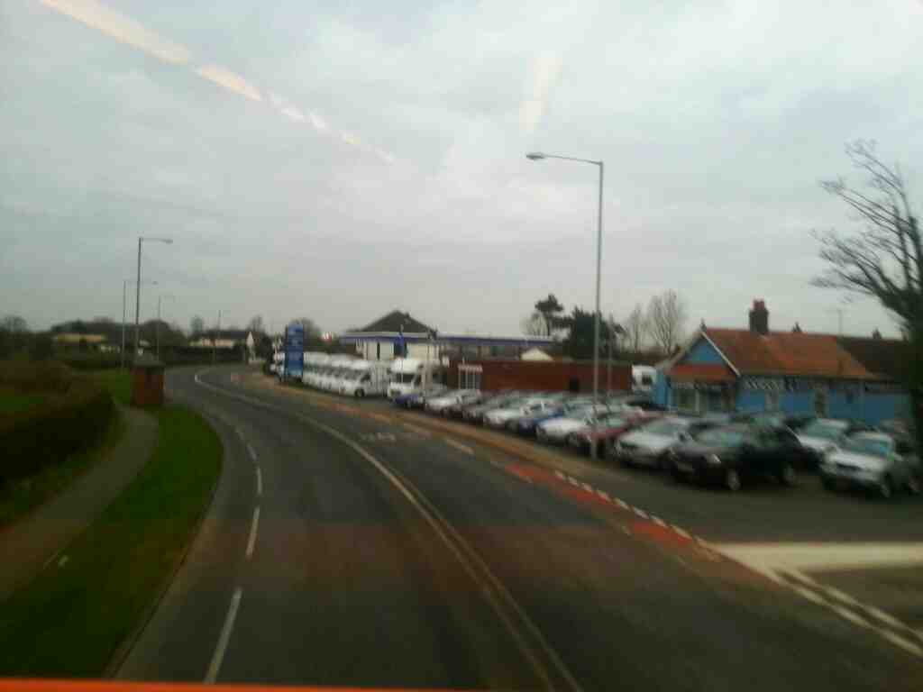 West of Warton on the A584 Lytham Rd on a 68 bus about to pass motorlands