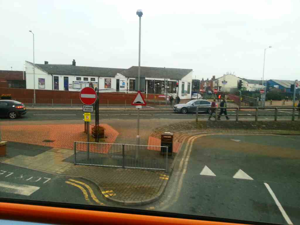 Entrance to Chorley bus Station off a 125 bus the A6 Shepherds way can be seen ahead