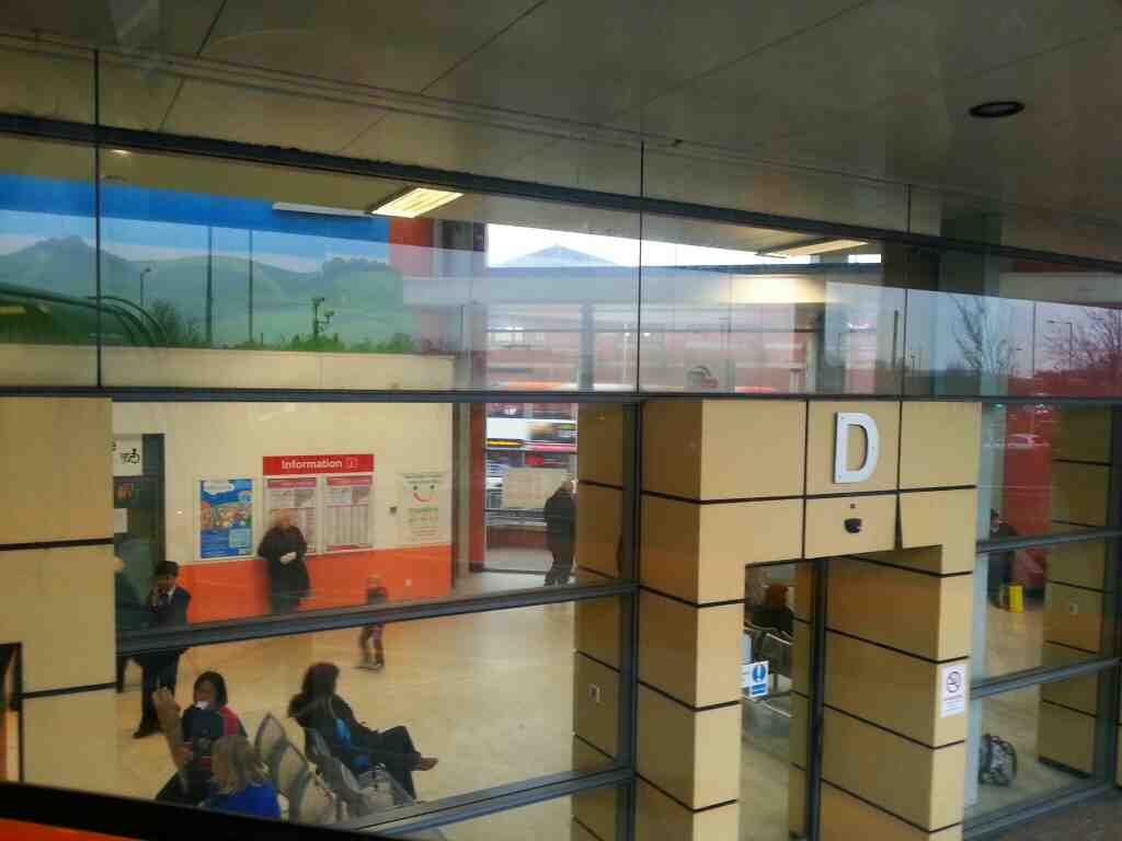 view of inside Chorley Bus Station from a Stagecoach 125 Bolton to Preston bus