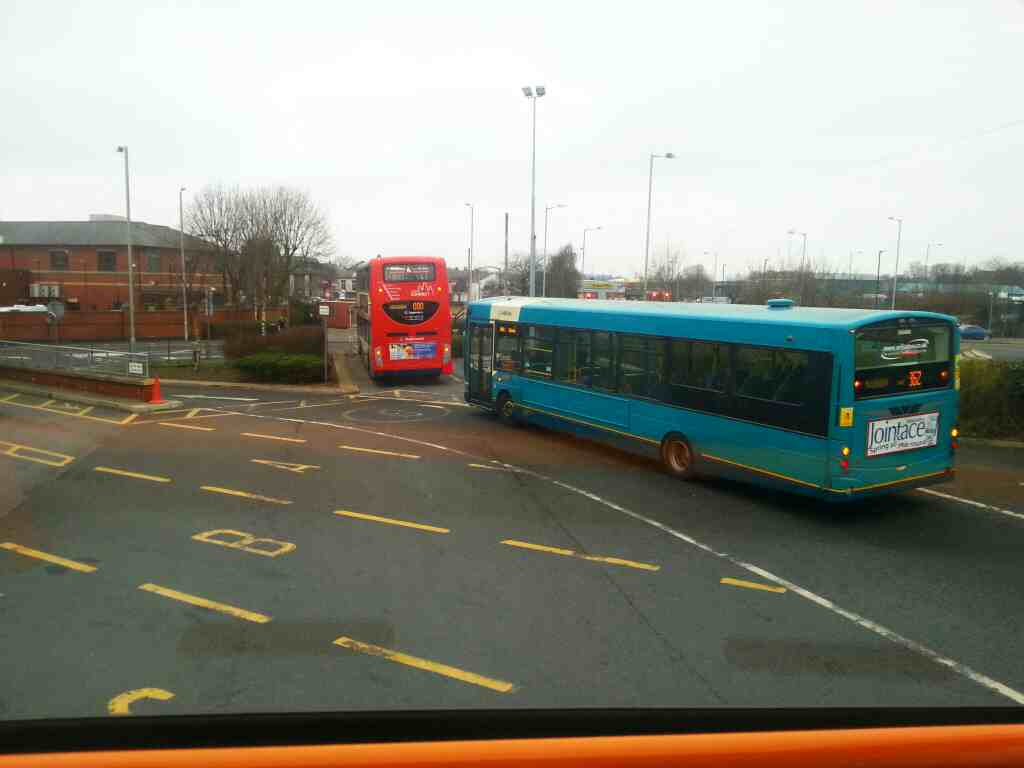 Heading out of Chorley bus station on a Preston bound 125 bus