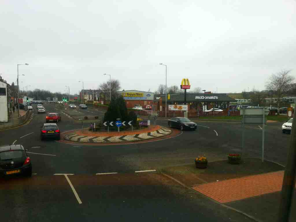 Passes Mc Donalds.Clifford St Chorley on a 125 bus