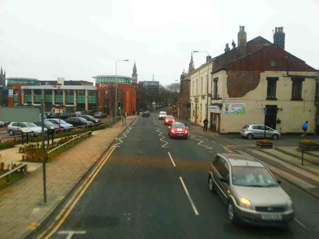 Passing Booths Supermarket Union St Chorley on a 125 bus
