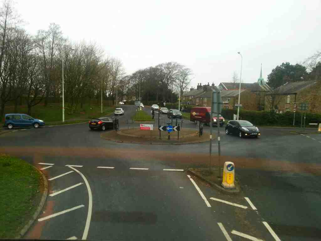 roundabout at the junction of Clayton Green Rd Westwood Rd and Preston Rd the A6 on a 125 bus