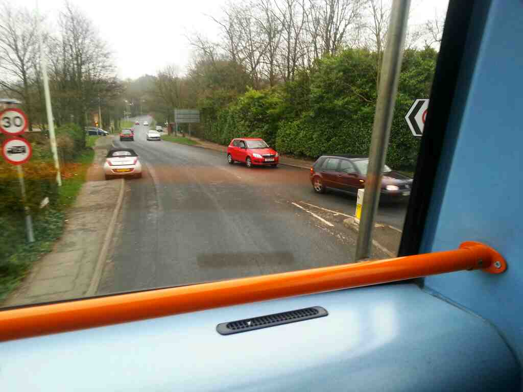 Turning into Westwood Rd off Preston Rd the A6 Clayton Le Woods on a 125 bus
