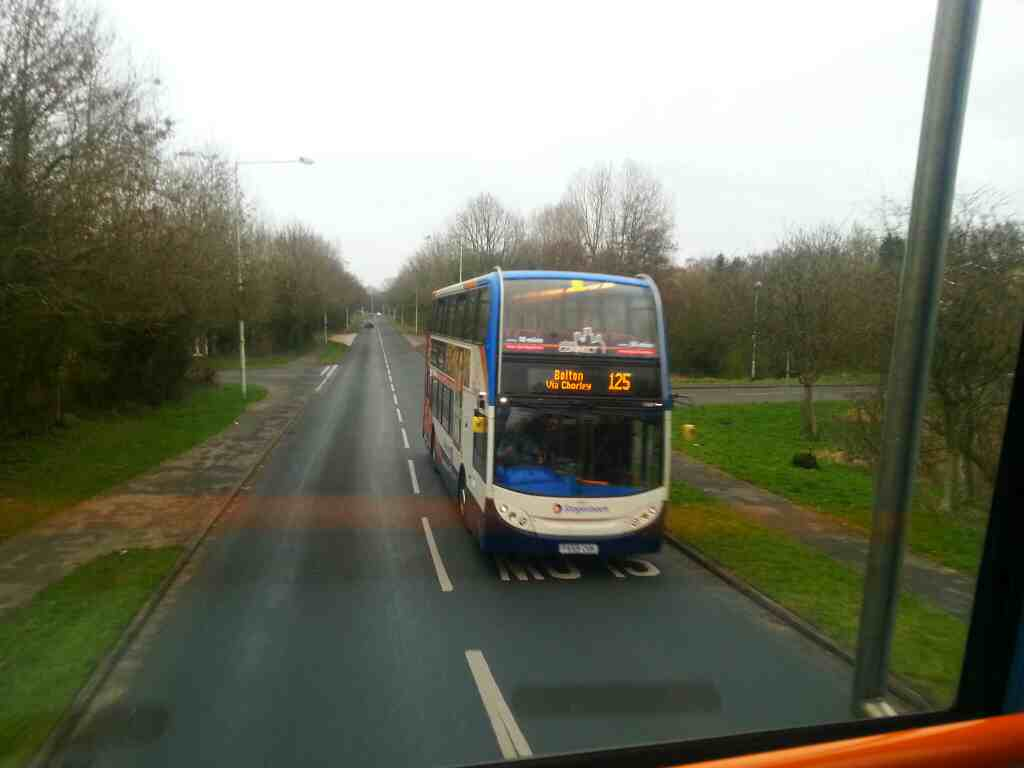 Traveling along Clayton Brook Rd on a 125 bus