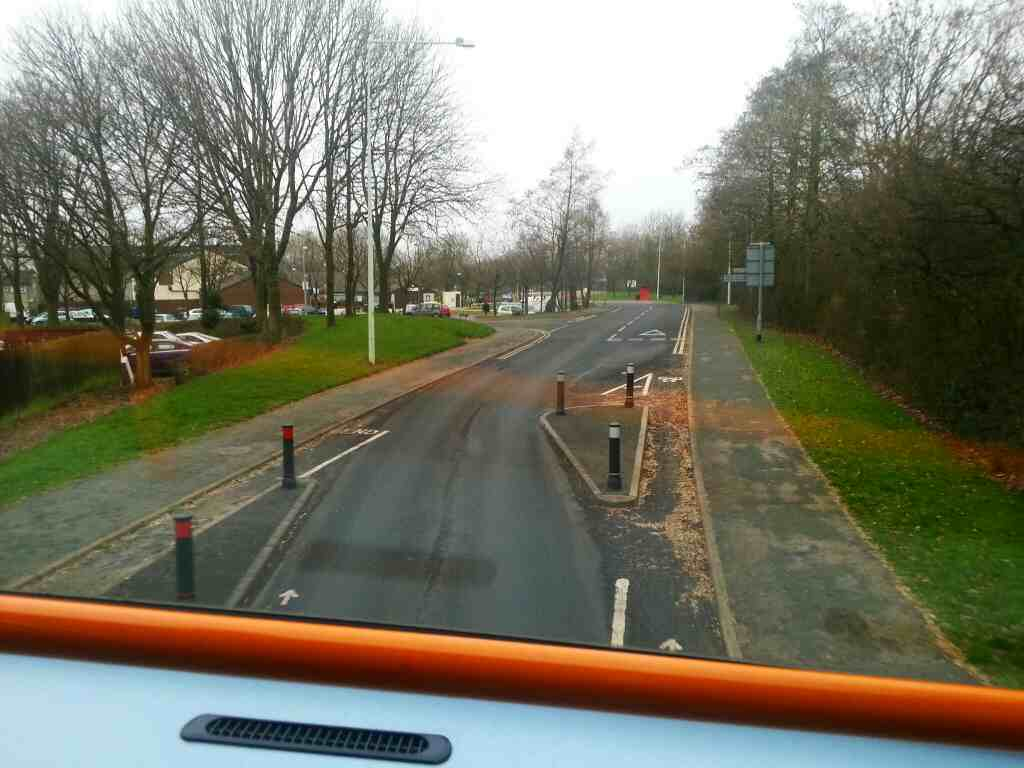 Junction of Great Greens Lane and Tunley Holme on a 125 bus