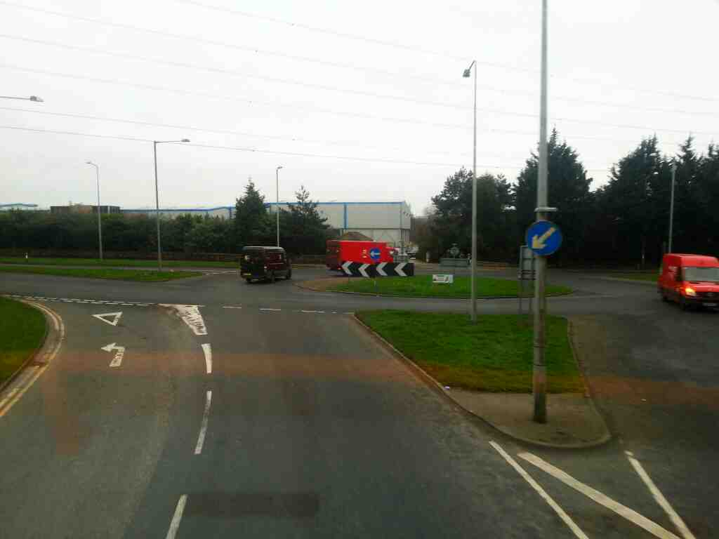 Junction of Walton Summit Rd and the A6 Church Rd and the A6 Preston Rd on a 125 bus