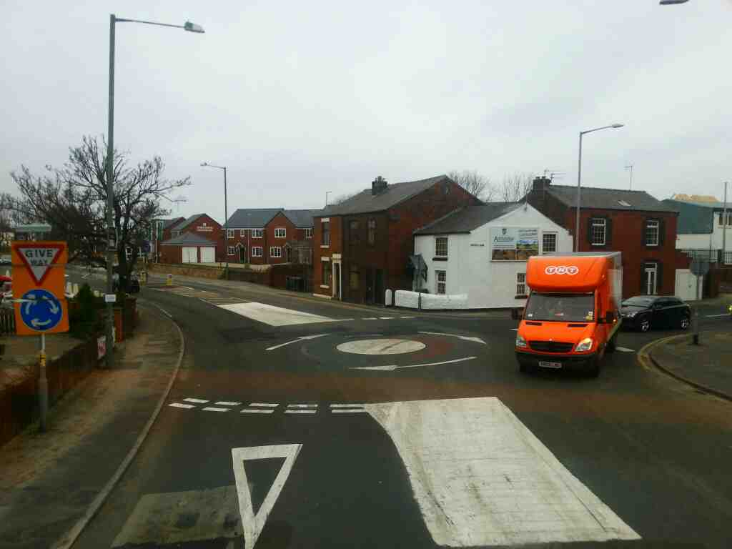 Junction of Station Road Chorley Rd and School Lane Bamber Bridge on a 125 bus