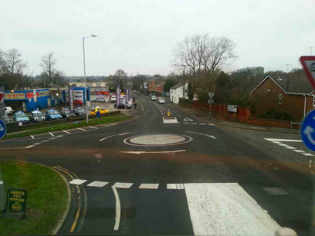 Junction of Drakes Hollow Hennel Lane and Chorley Rd Walton Le Dale on a 125 bus