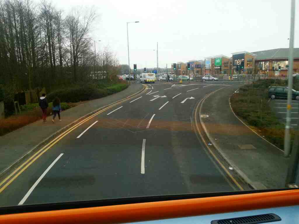 Junction of Victoria Rd and the A6 Walton Le Dale on a 125 bus
