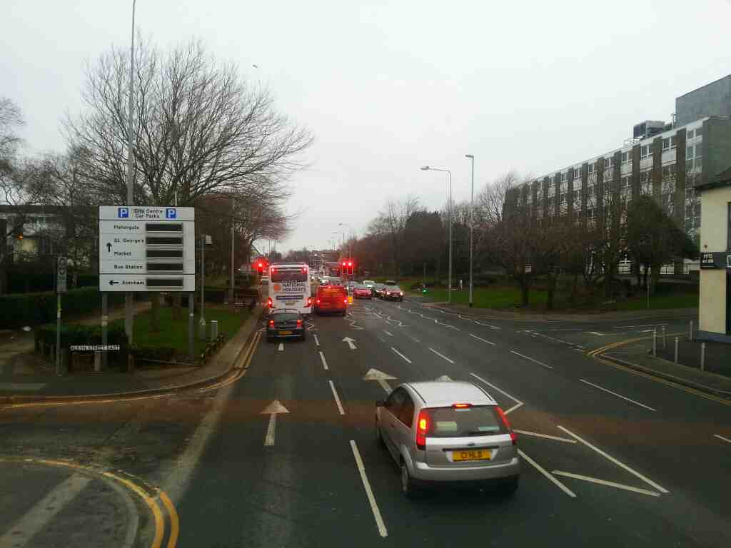 junction of Albyn St East and London Rd the A6 Preston on a 125 bus
