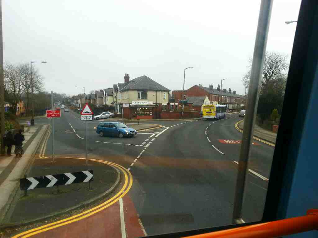 Junction of Chorley Old Road and Whitecroft Rd on a 125 bus