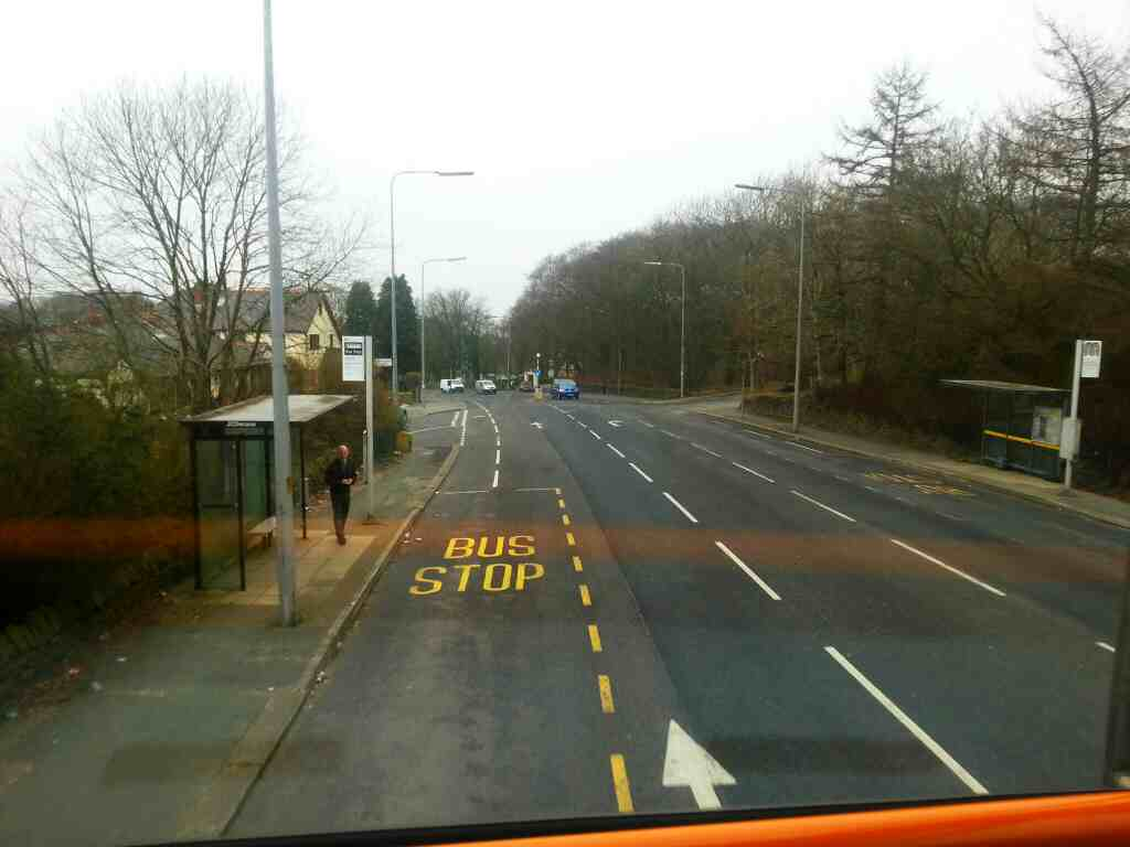 Bus stop on Chorley Old Road at end of Bottom o' th' Moor on a 125 bus