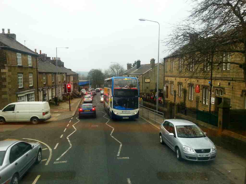 A 125 bus on Church St Horwich from a 125 bus