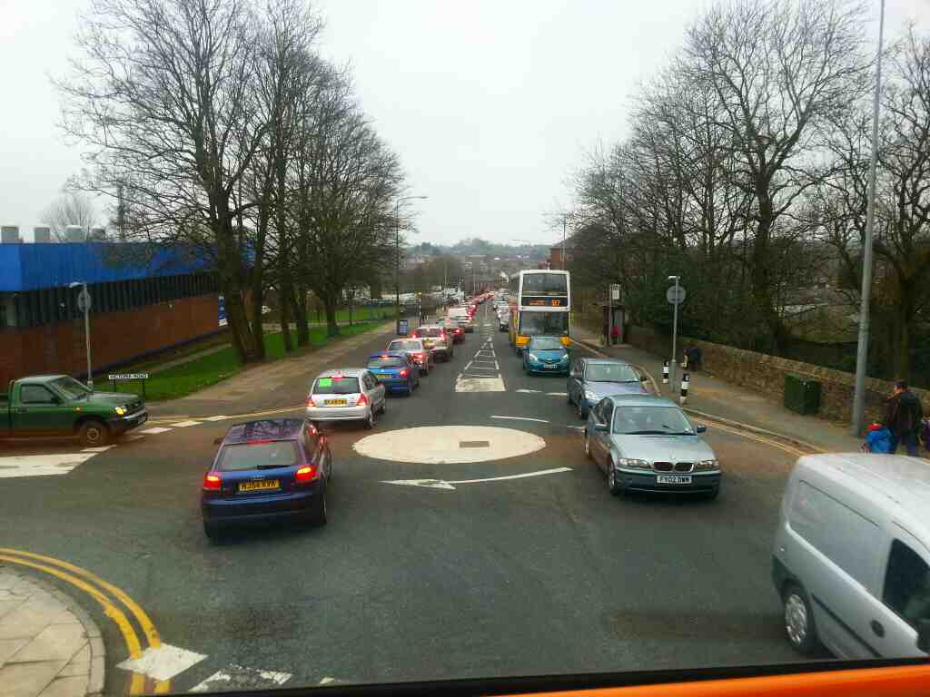 Mini Roundabout Horwich Church St and Victoria Rd off a 125 bus