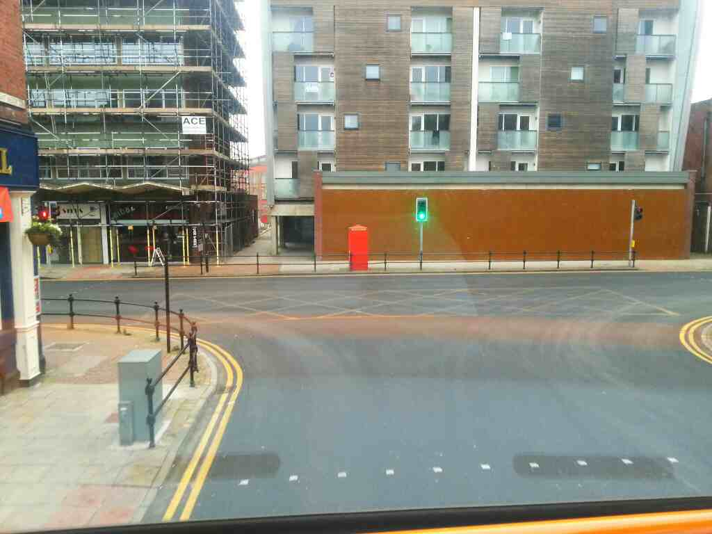 Junction of Great Moor St and Bradshawgate Bolton on a 125 bus
