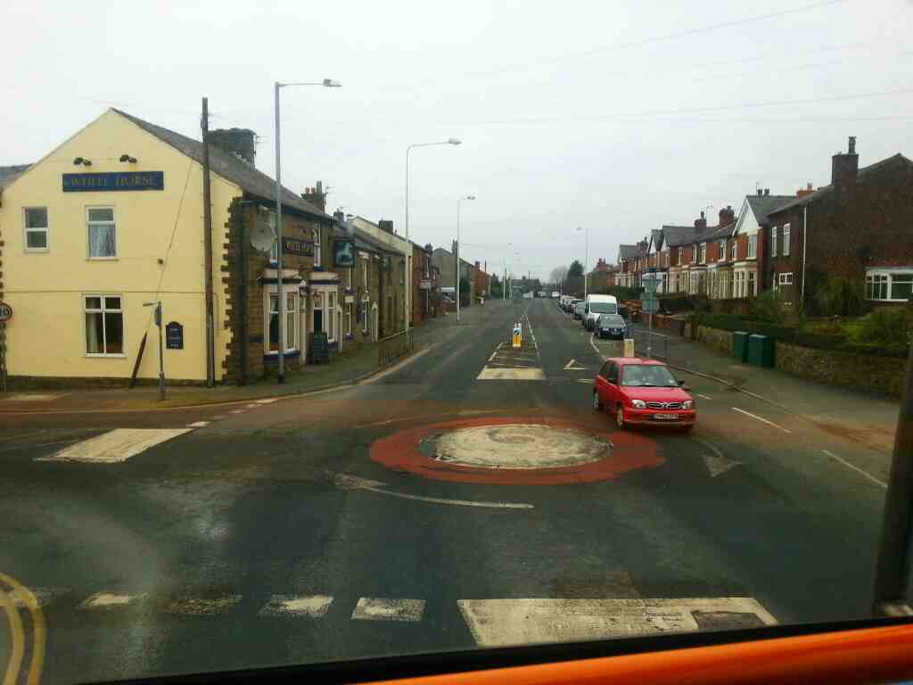 Passes the White Horse pub Junction of Chorley Rd and Rawlinson Lane Heath Charnock Lancashire on a 125 bus