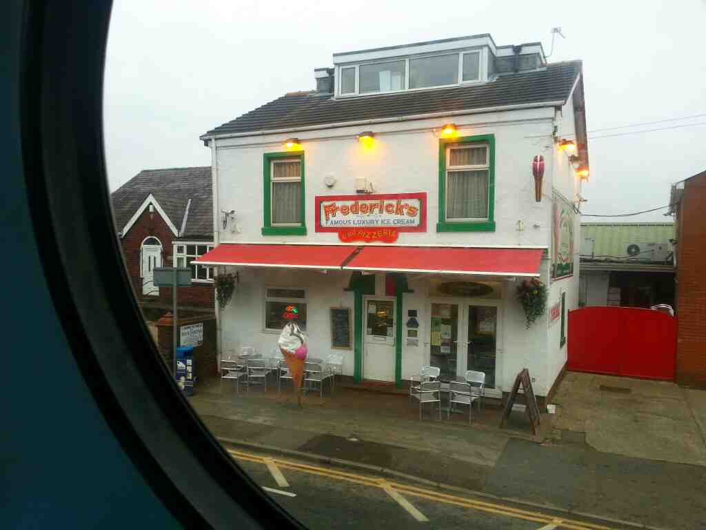 Passing the Fredericks's Ice Cream Parlour on a 125 bus Bolton Road A6 Chorley