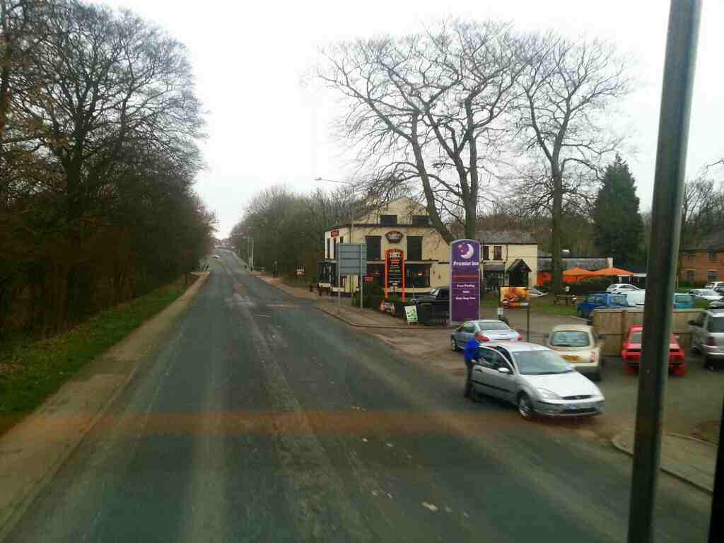 Passes the Chorley South Premier Inn and the Yarrowbridgr Flaming Grill on a 125 bus