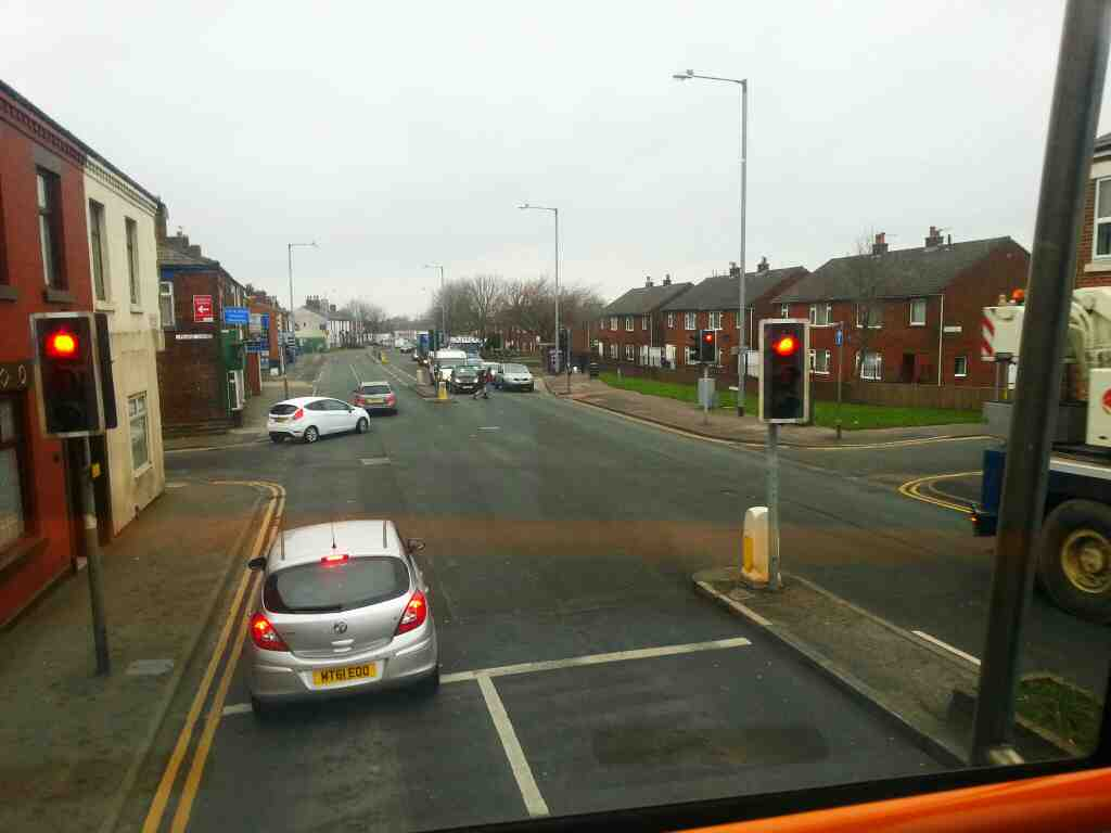 Junction of Bolton Rd Princess St and Pilling Lane Chorley Lancashire on a 125 bus