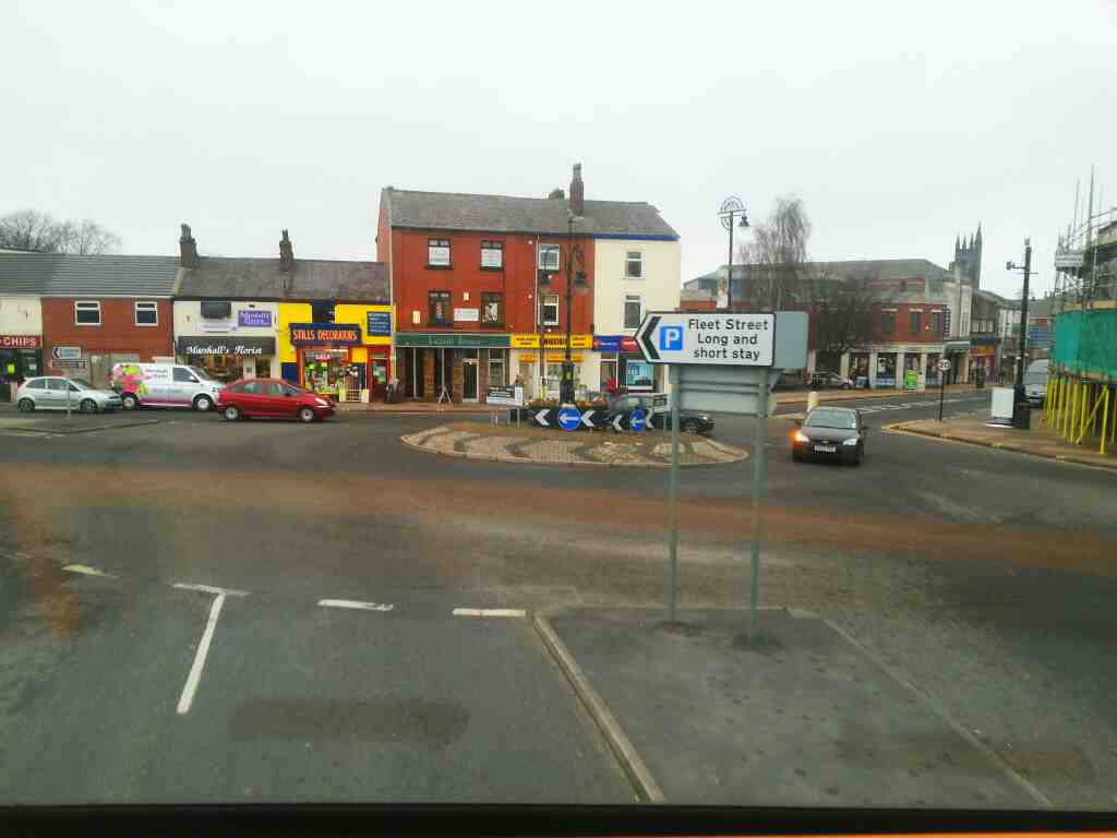 Roundabout between Bolton St and Market St Chorley Lancs on a 125 bus