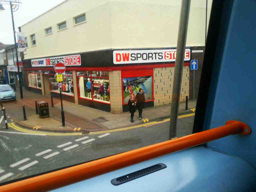 junction of Market St and St George's St Chorley on a 125 bus passing DW sports store Chorley