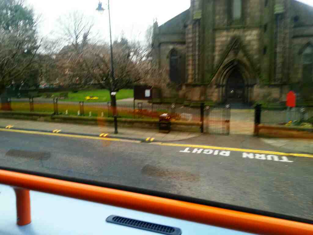 St George's Church Church St Chorley passing on a 125 bus