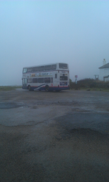 The number 1 bus leaving Lands End for Penzance.