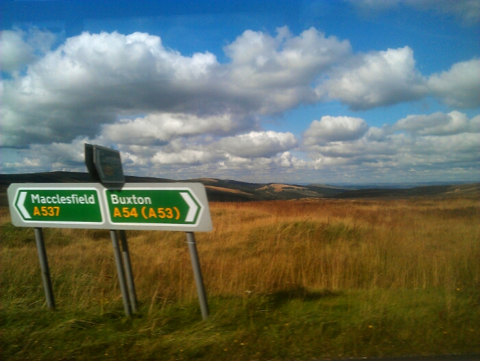 Road sign on the Moors above Buxton.
