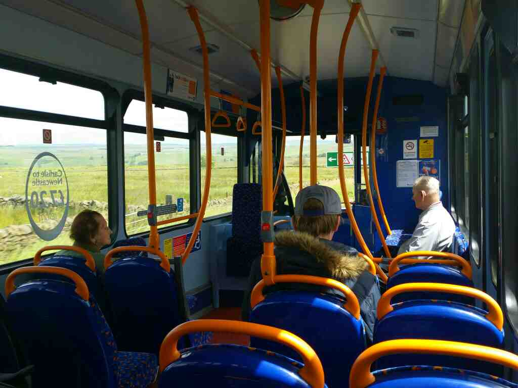 The interior of a 685 Carlisle Newcastle bus on the A69 between Bramptom Cumbria and Haltwhistle Northumberland