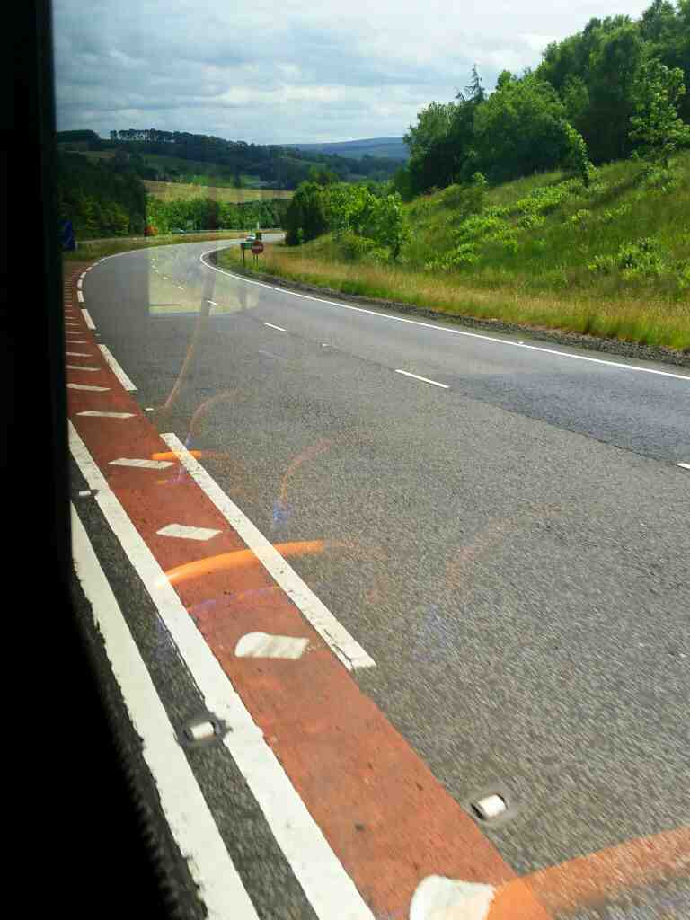 The South Tyne Valley coming into view on the A69 on a 685 Carlisle Newcastle bus