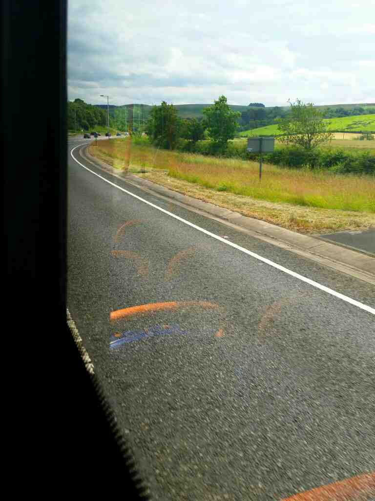 Approaching the eastern end of the Haltwhistle bypass on a 685 Carlisle Newcastle bus