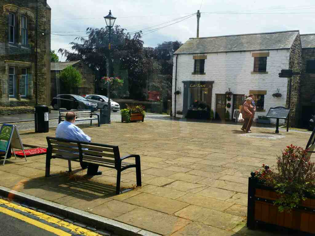 Market Square Haltwhistle Northumberland on a 685 Carlisle Newcastle bus