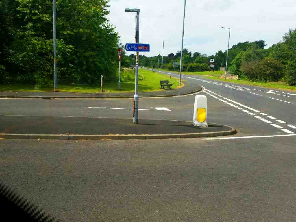 Junction of the B6322 and 68 Haltwhistle on a 685 Carlisle Newcastle bus